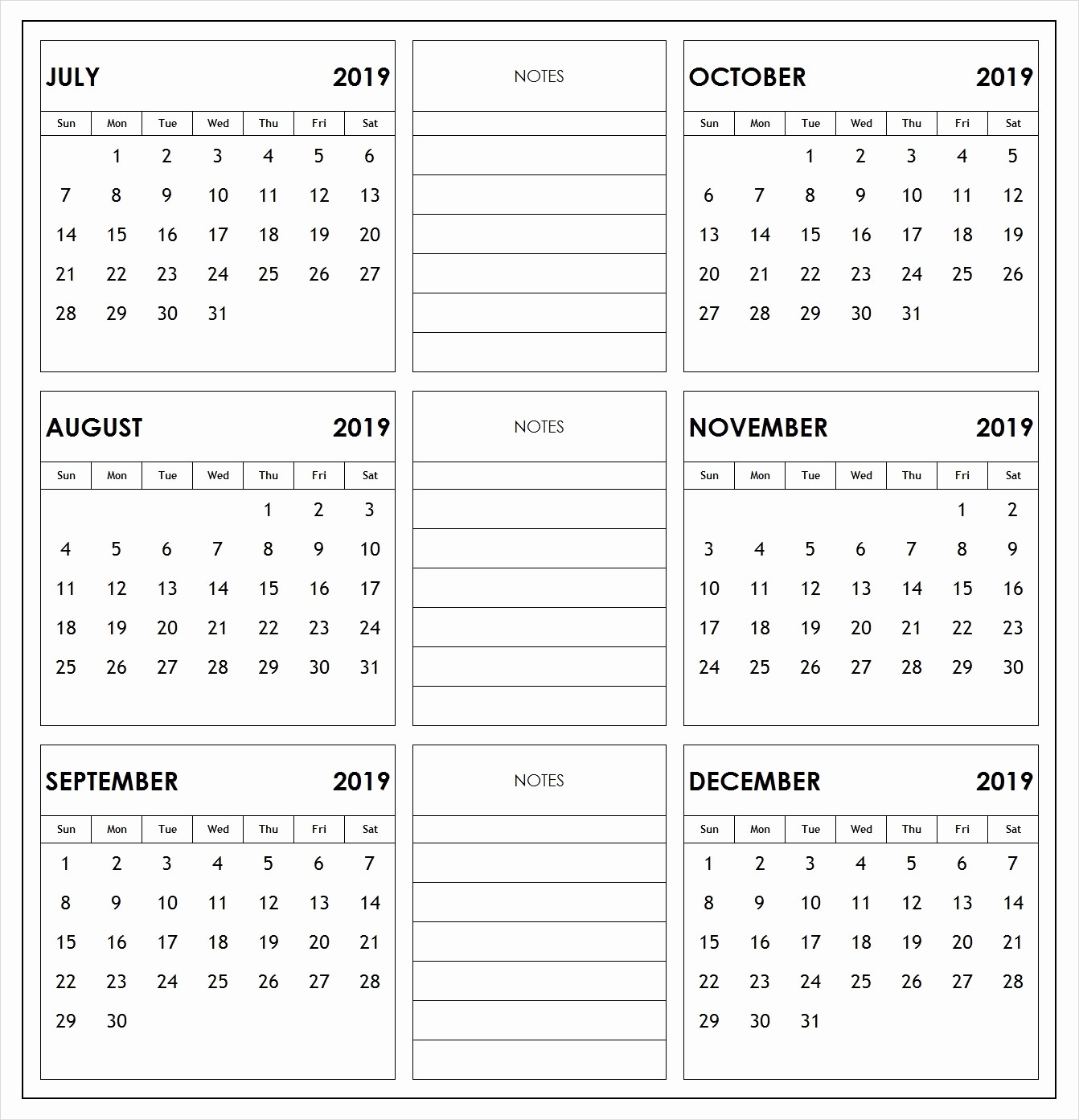 2019 Printable Calendar by Month New 2019 6 Months Half Year Calendar Printable Download