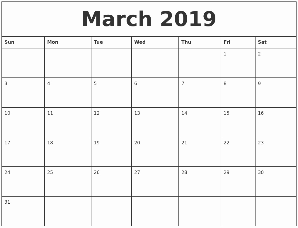 2019 Printable Calendar by Month New May 2019 Blank Monthly Calendar