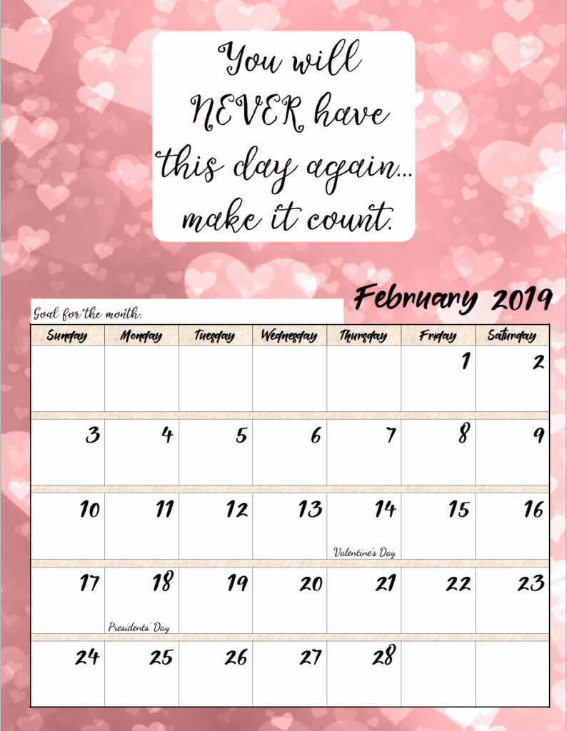2019 Printable Calendar by Month Unique Free Printable 2019 Monthly Motivational Calendars