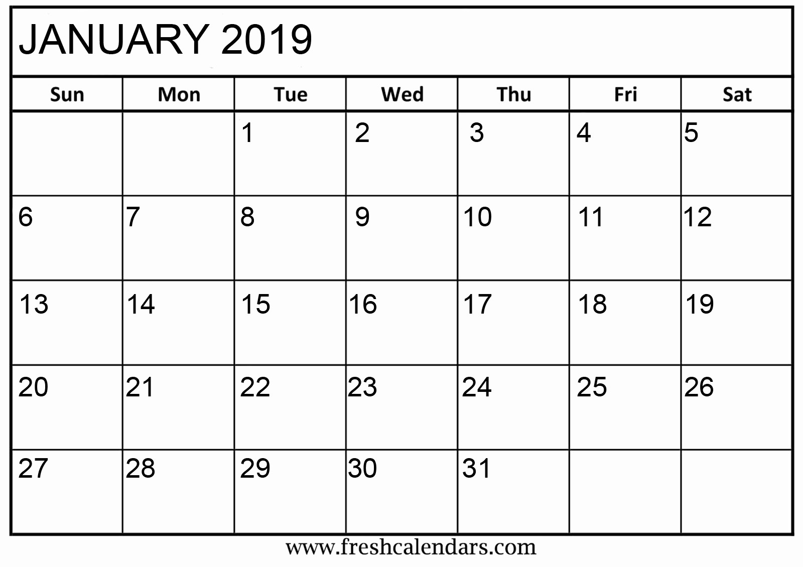 2019 Printable Calendar by Month Unique Printable January 2019 Calendar Fresh Calendars