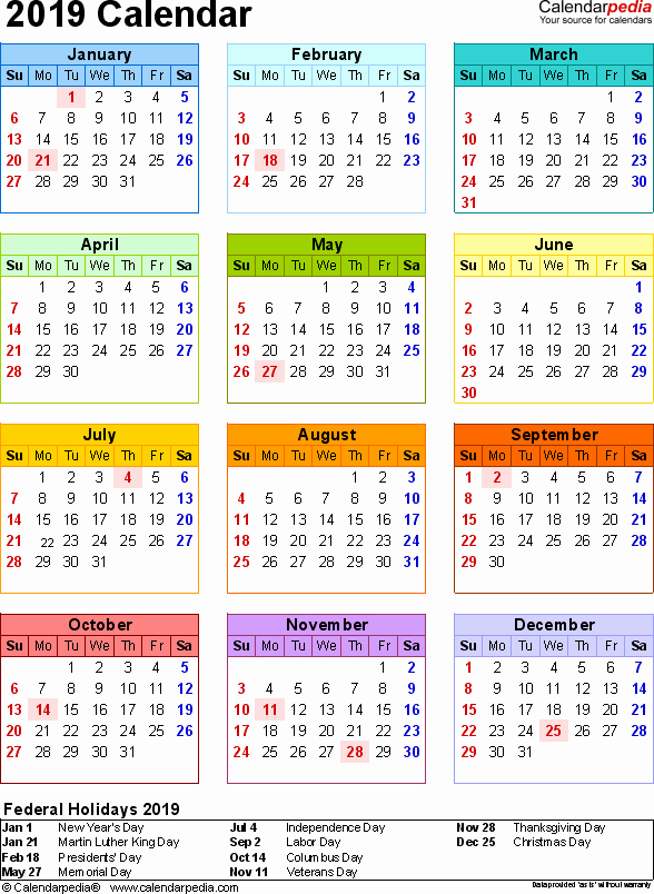 2019 Word Calendar with Holidays Awesome 2019 Calendar 17 Free Printable Word Calendar Templates