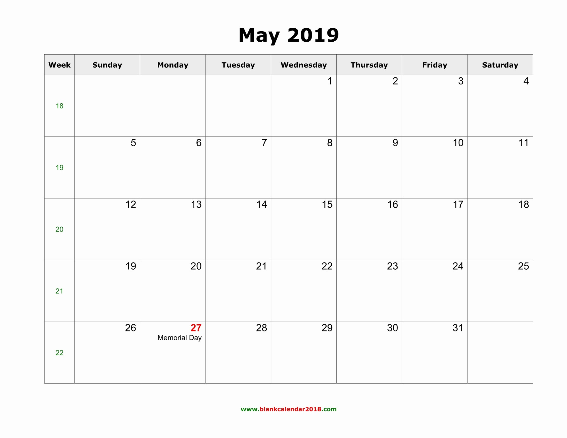 2019 Word Calendar with Holidays Awesome Blank Calendar for May 2019