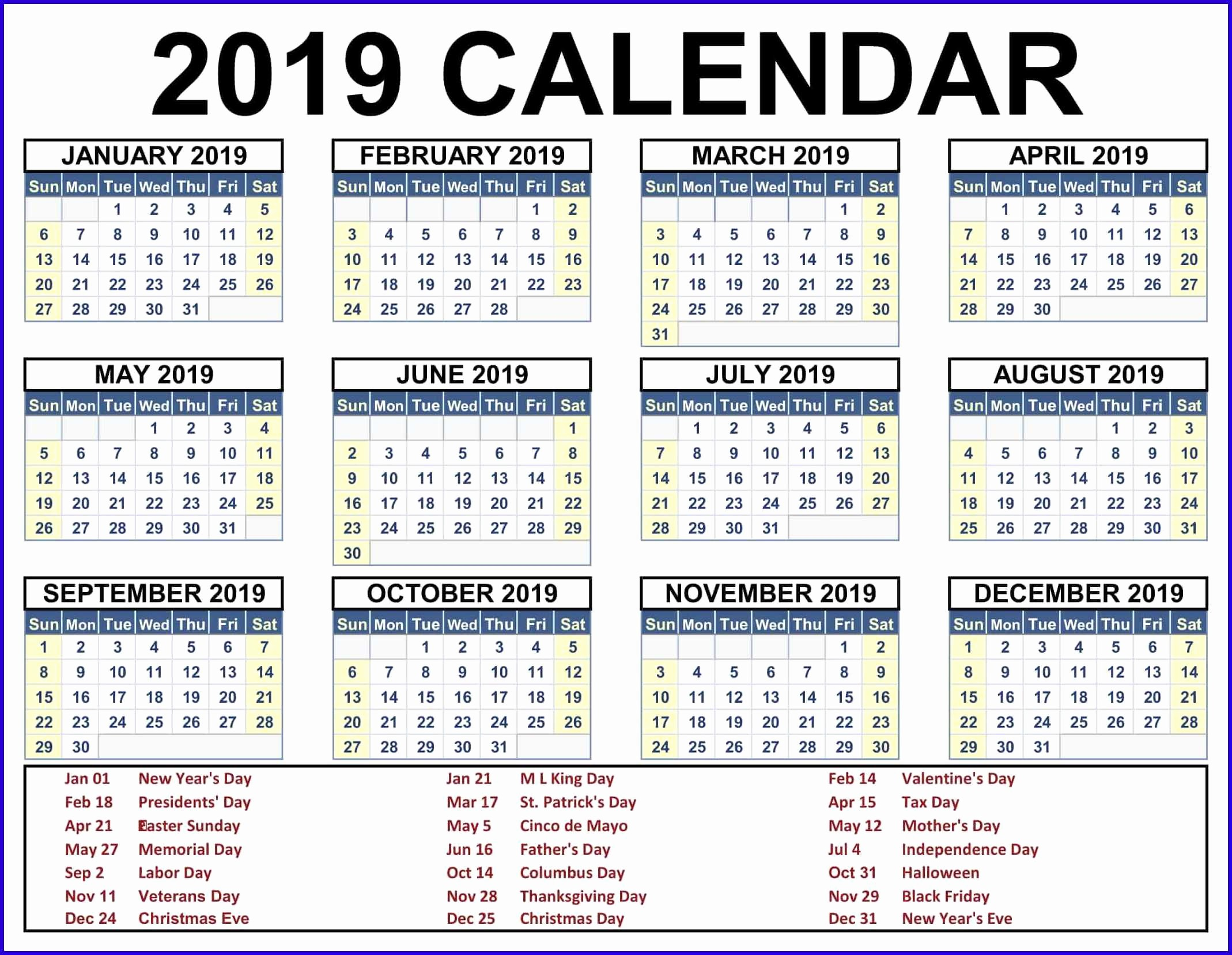 2019 Word Calendar with Holidays Awesome Printable Calendar 2019 Pdf Word Excel Template