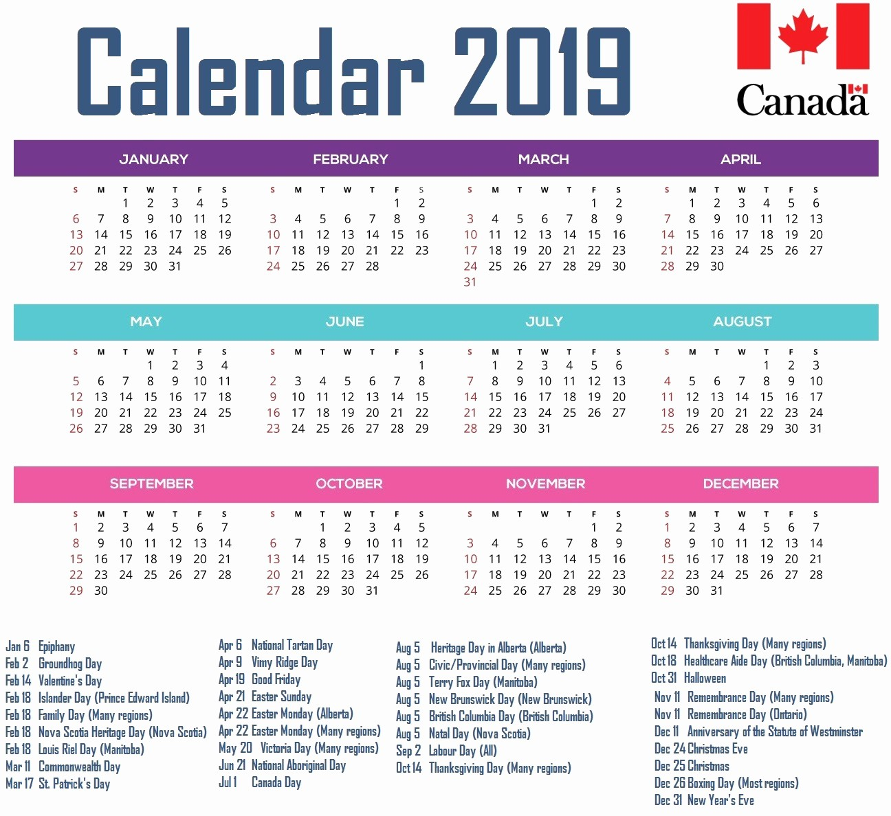 2019 Word Calendar with Holidays Beautiful 2019 Calendar with Holidays Word Template Printables