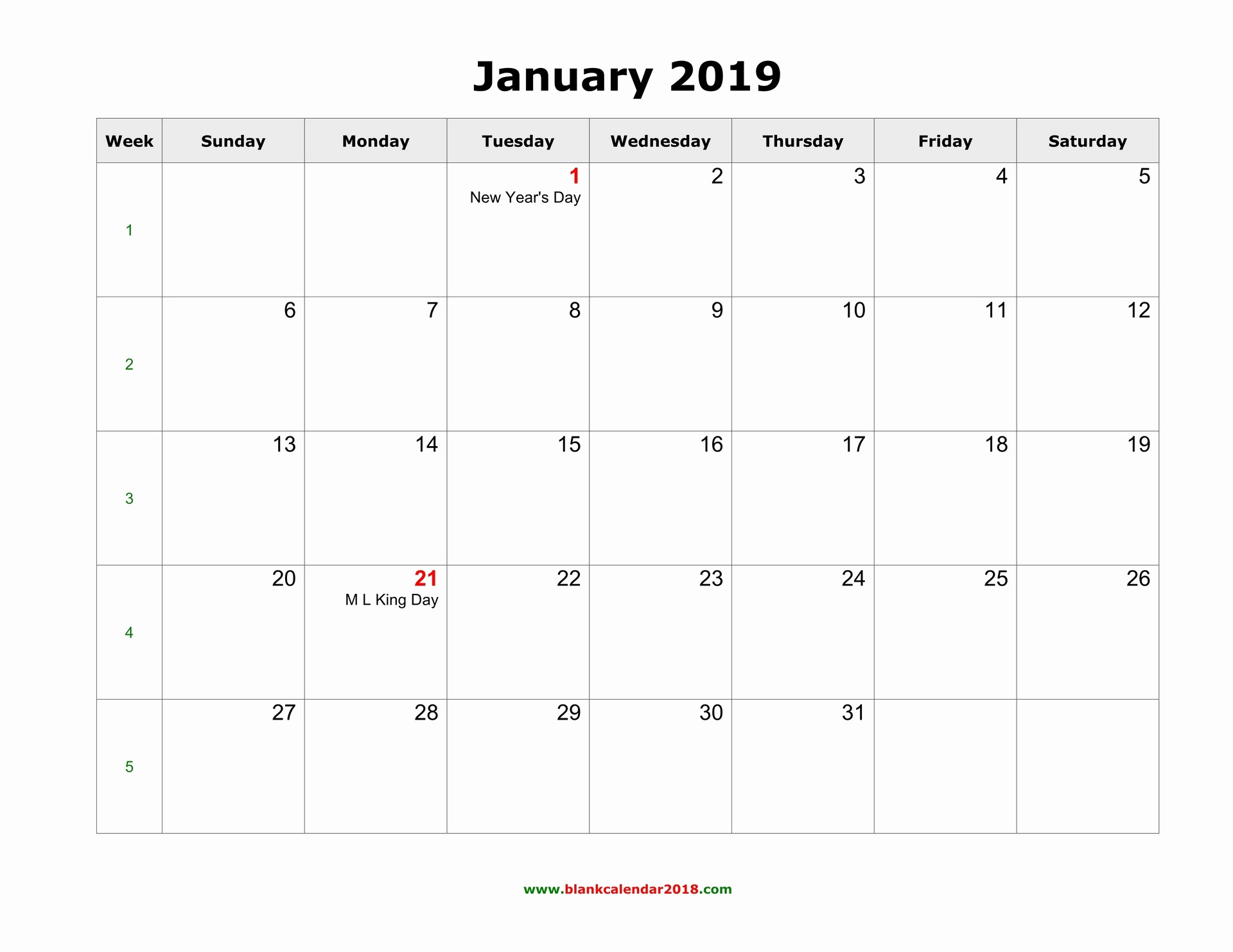 2019 Word Calendar with Holidays Beautiful Blank Calendar 2019