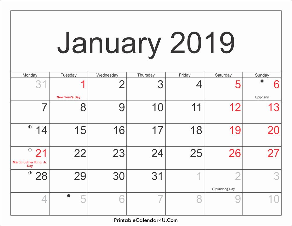 2019 Word Calendar with Holidays Beautiful January 2019 Calendar with Holidays