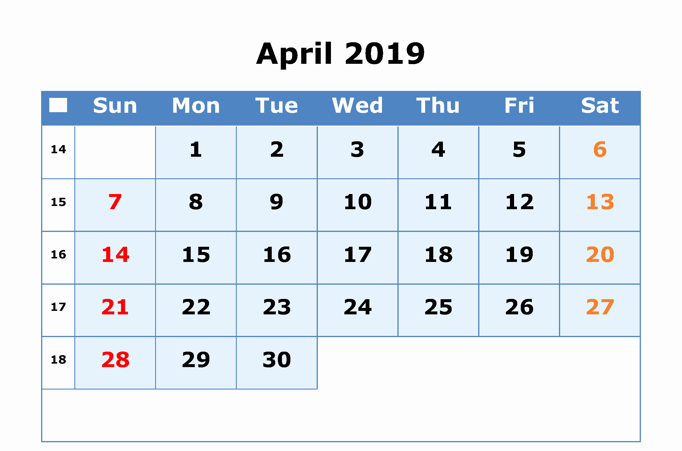 2019 Word Calendar with Holidays Best Of April 2019 Calendar Word Printable Editable Blank Template