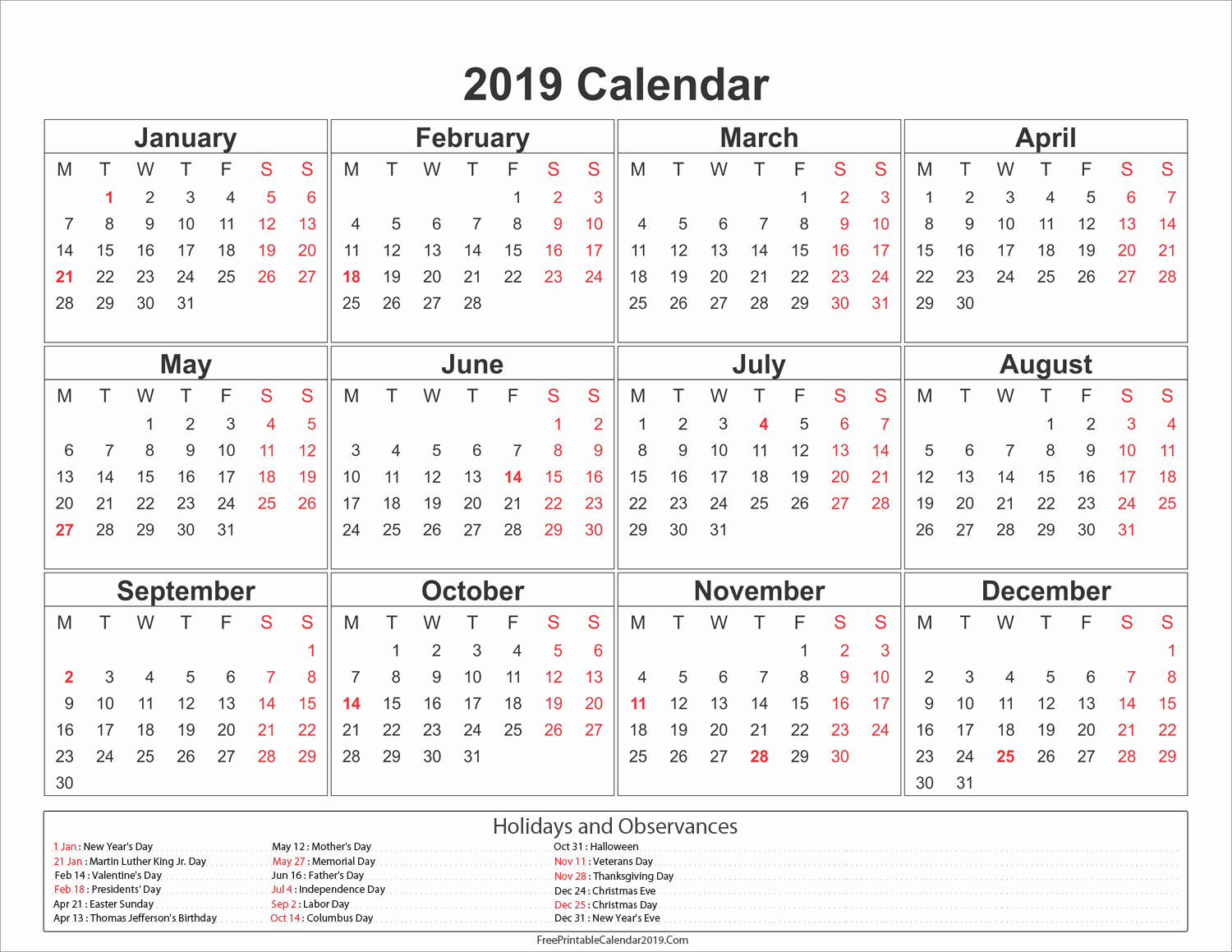 2019 Word Calendar with Holidays Best Of Free Printable 2019 Calendar with Holidays Lacalabaza