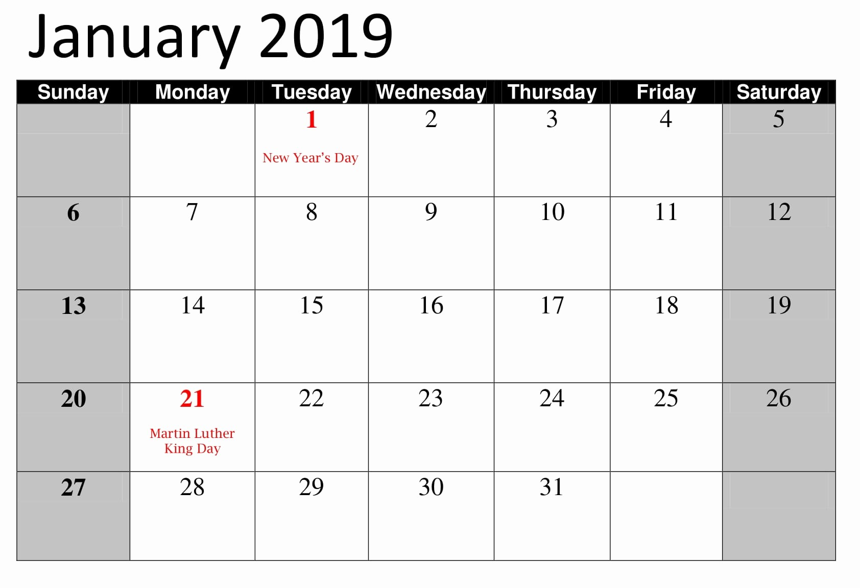 2019 Word Calendar with Holidays Best Of January 2019 Calendar with Public Holidays and Festival