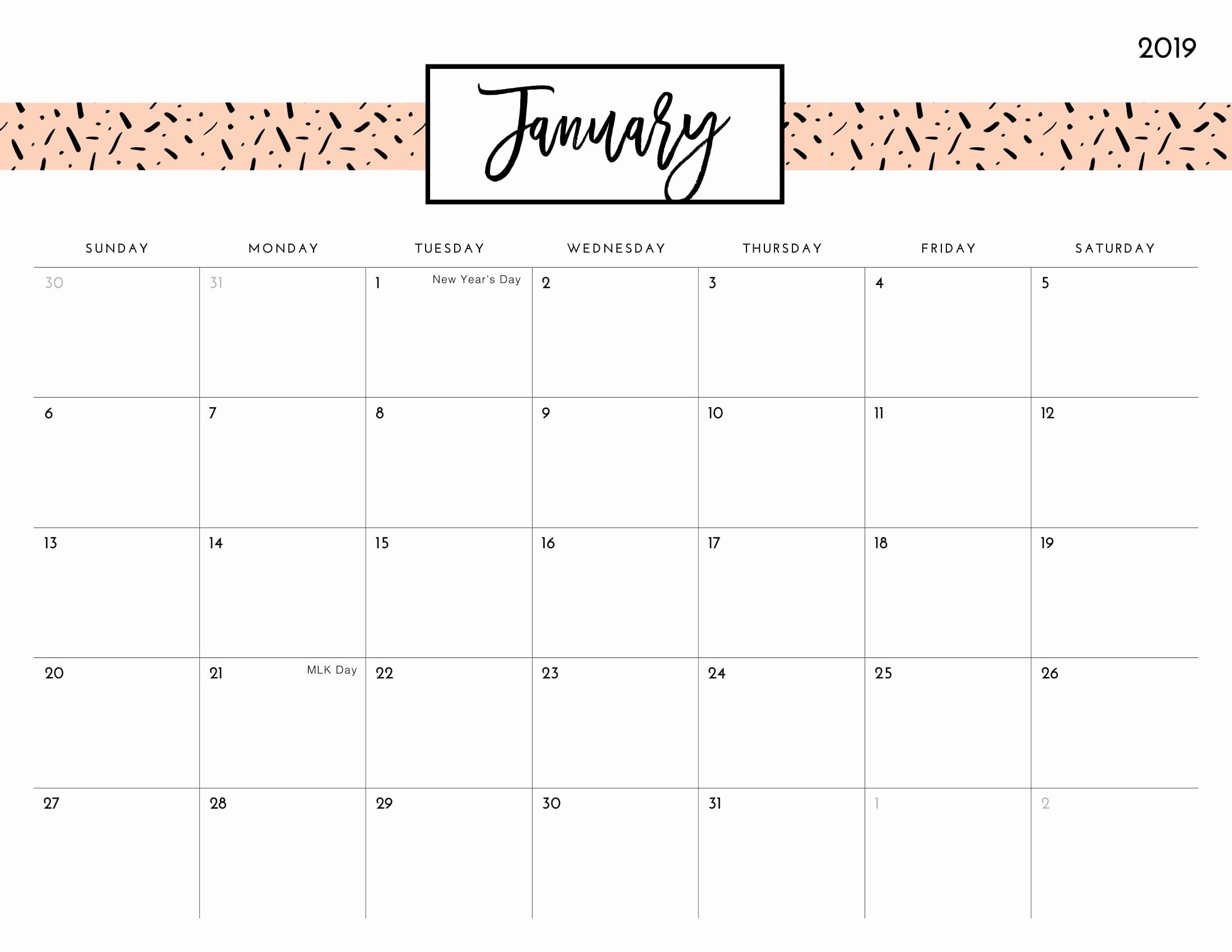 2019 Word Calendar with Holidays Best Of January 2019 Calendar Word