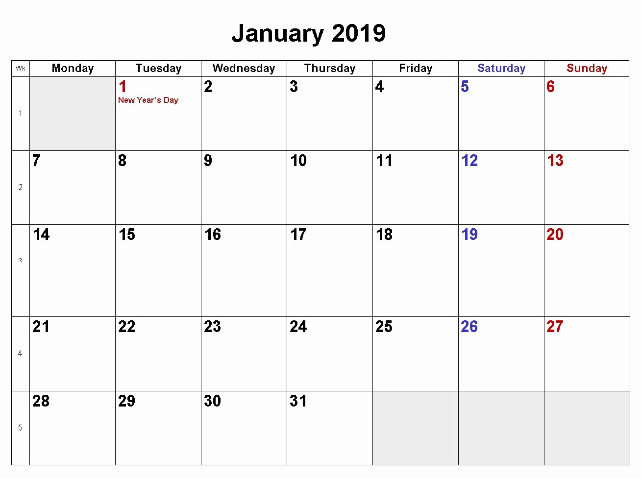 2019 Word Calendar with Holidays Elegant January 2019 Calendar