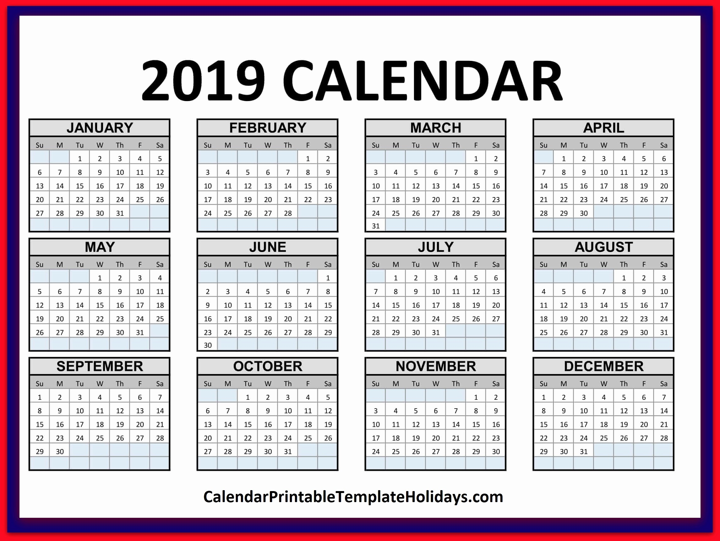 2019 Word Calendar with Holidays Fresh 2019 Calendar Printable Template Holidays Pdf Word Excel