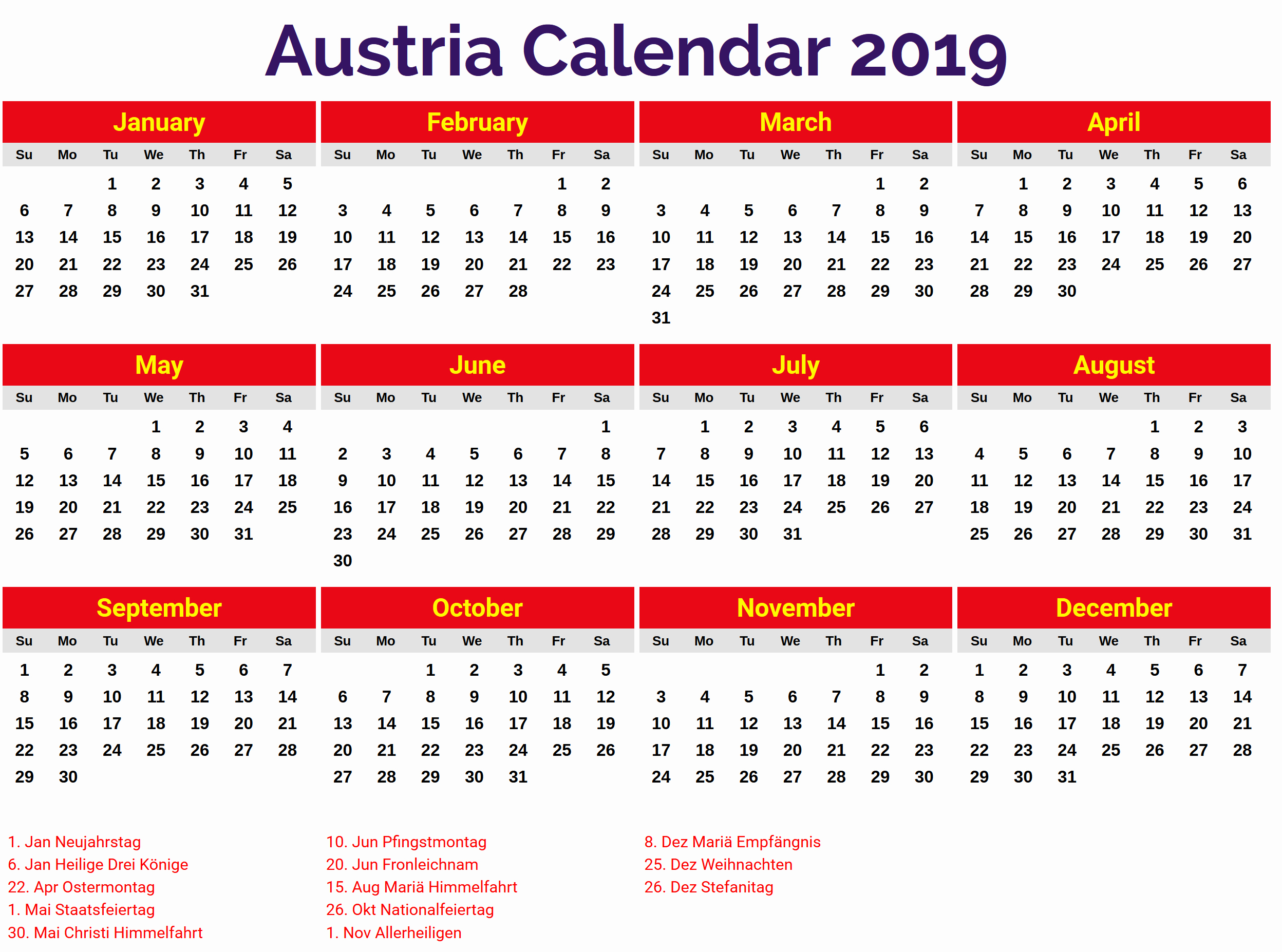 2019 Word Calendar with Holidays Fresh Austria Calendar 2019 Template Pdf Excel Word Free