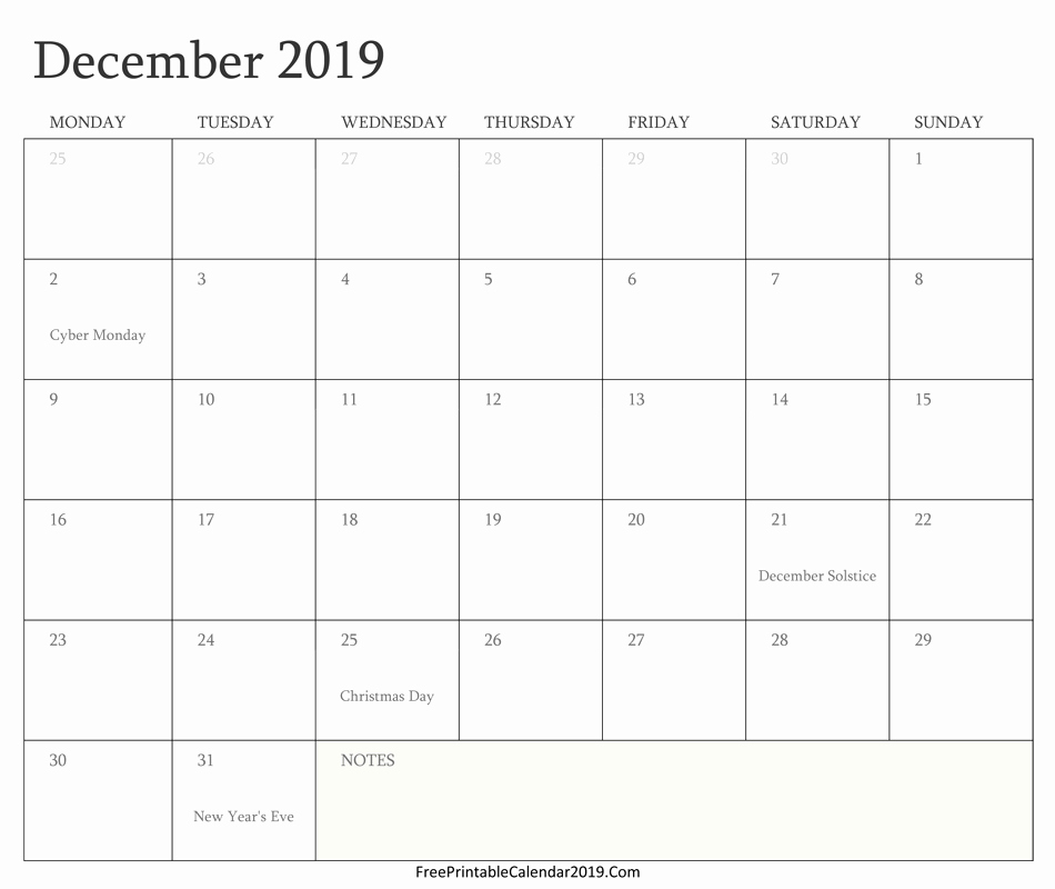 2019 Word Calendar with Holidays Fresh December 2019 Calendar Templates