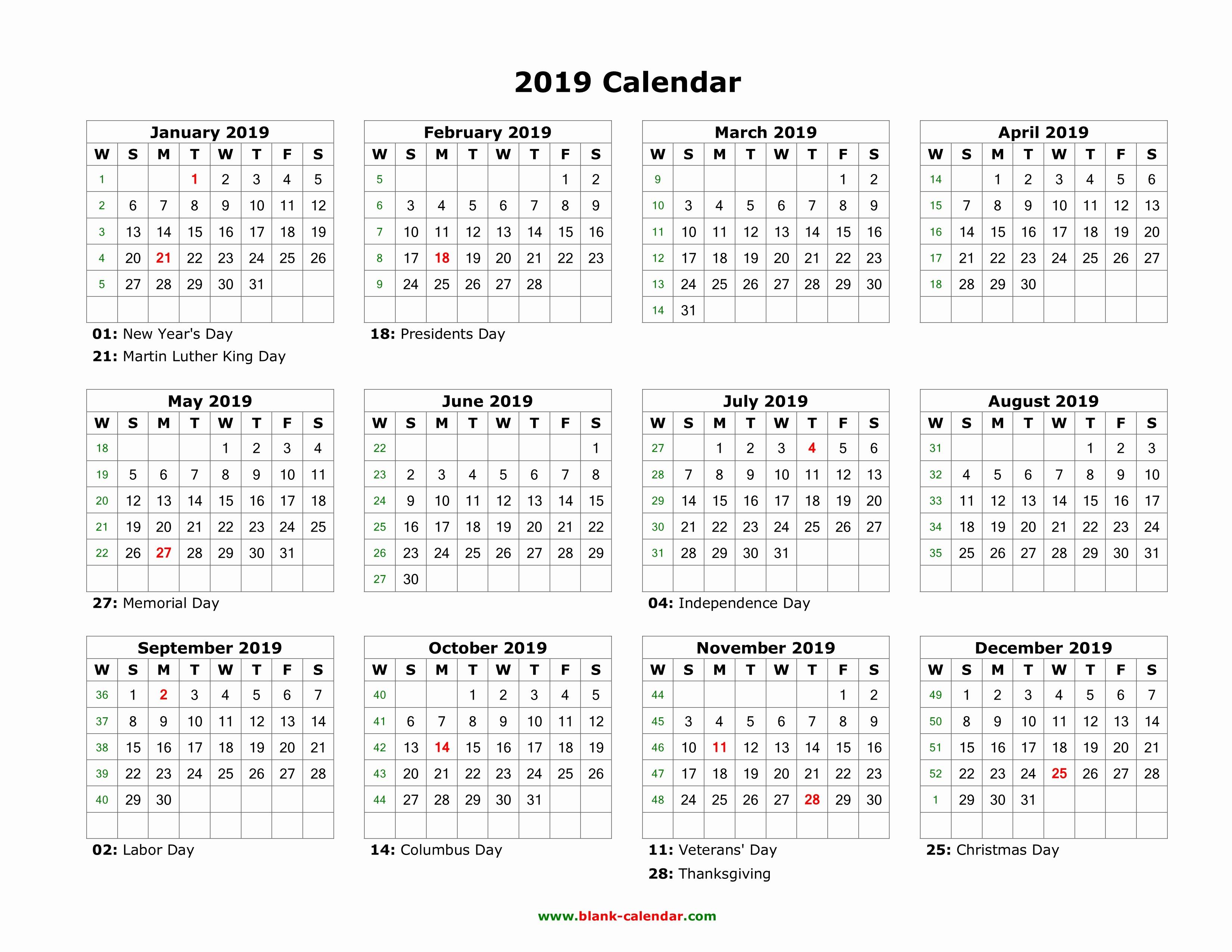 2019 Word Calendar with Holidays Inspirational Download Blank Calendar 2019 with Us Holidays 12 Months