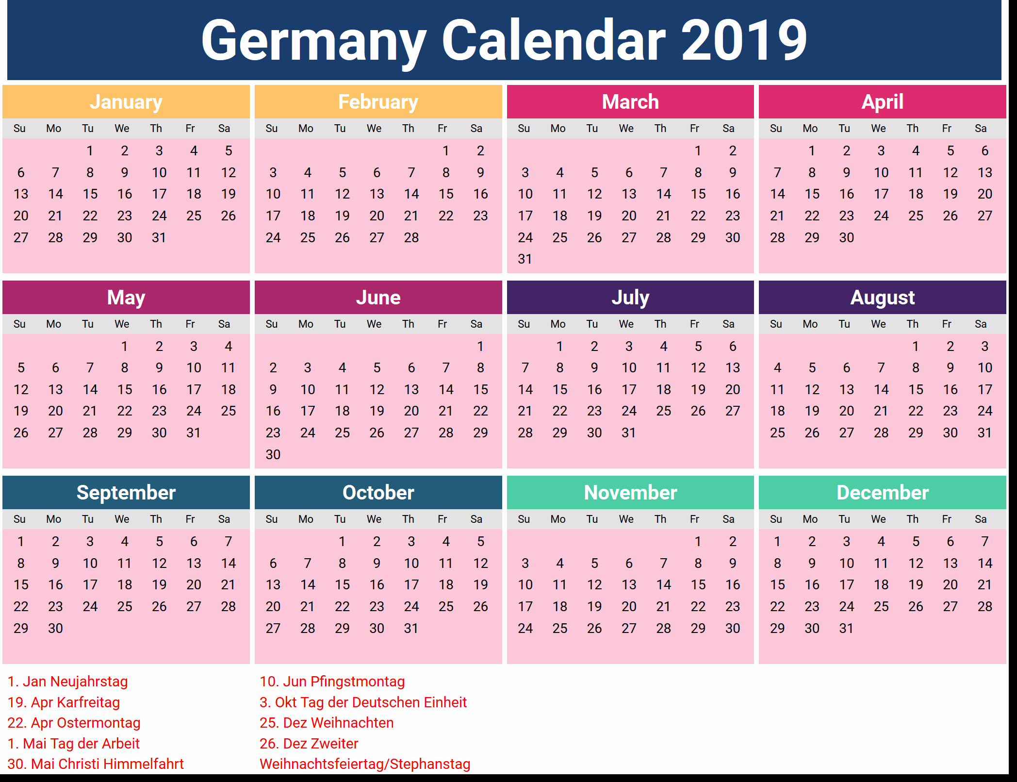 2019 Word Calendar with Holidays Inspirational Germany Calendar 2019 Template Pdf Excel Word
