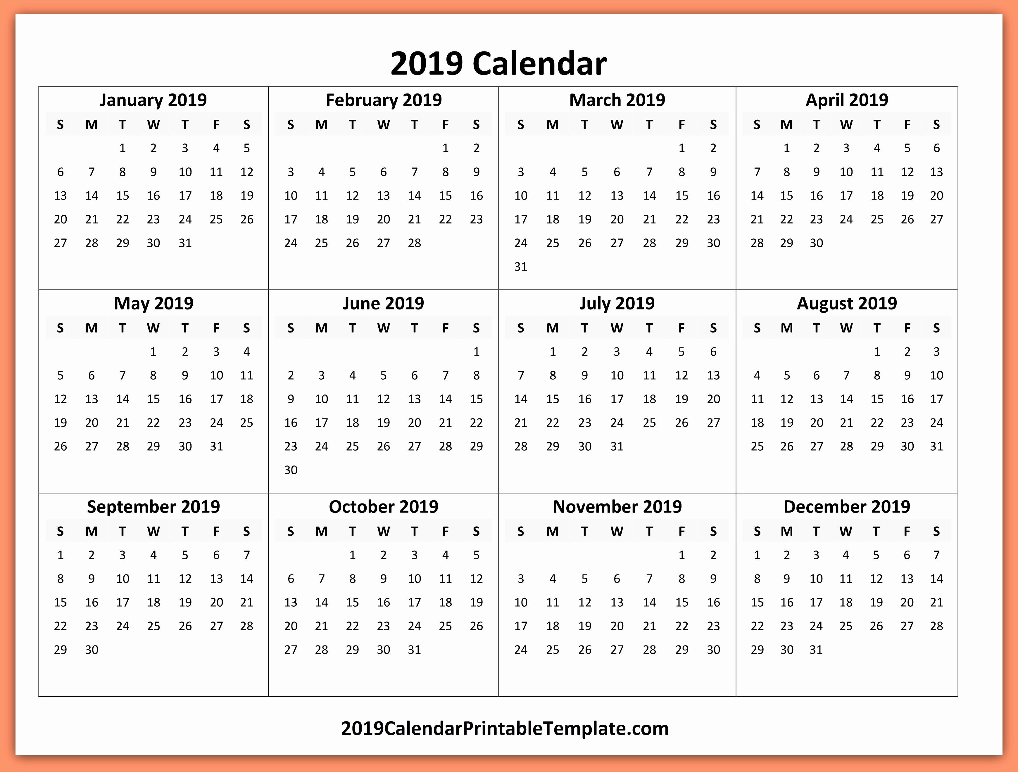 2019 Word Calendar with Holidays Lovely 2019 Yearly Calendar Template 2019 Calendar Printable