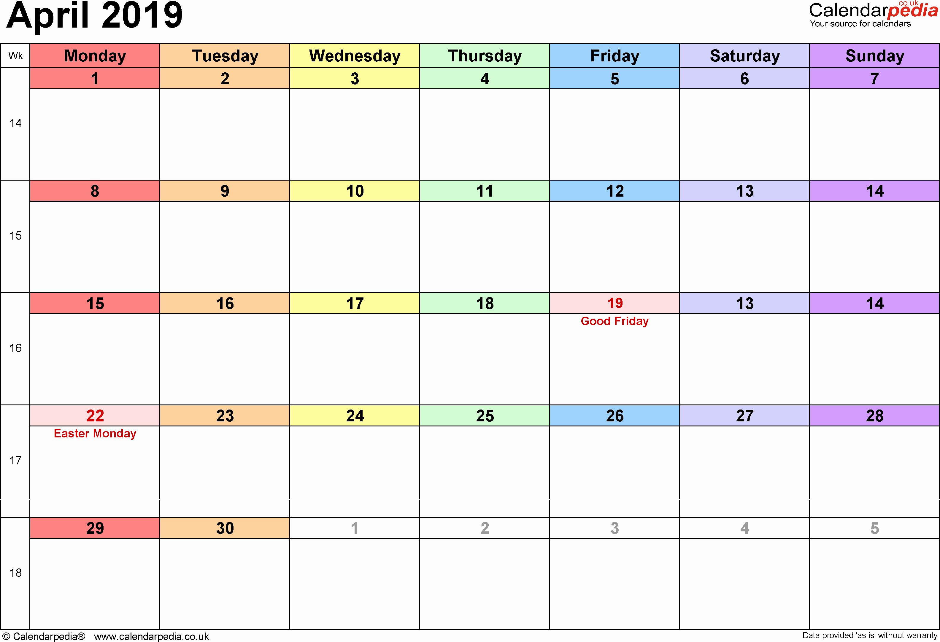 2019 Word Calendar with Holidays Lovely Calendar April 2019 Uk Bank Holidays Excel Pdf Word