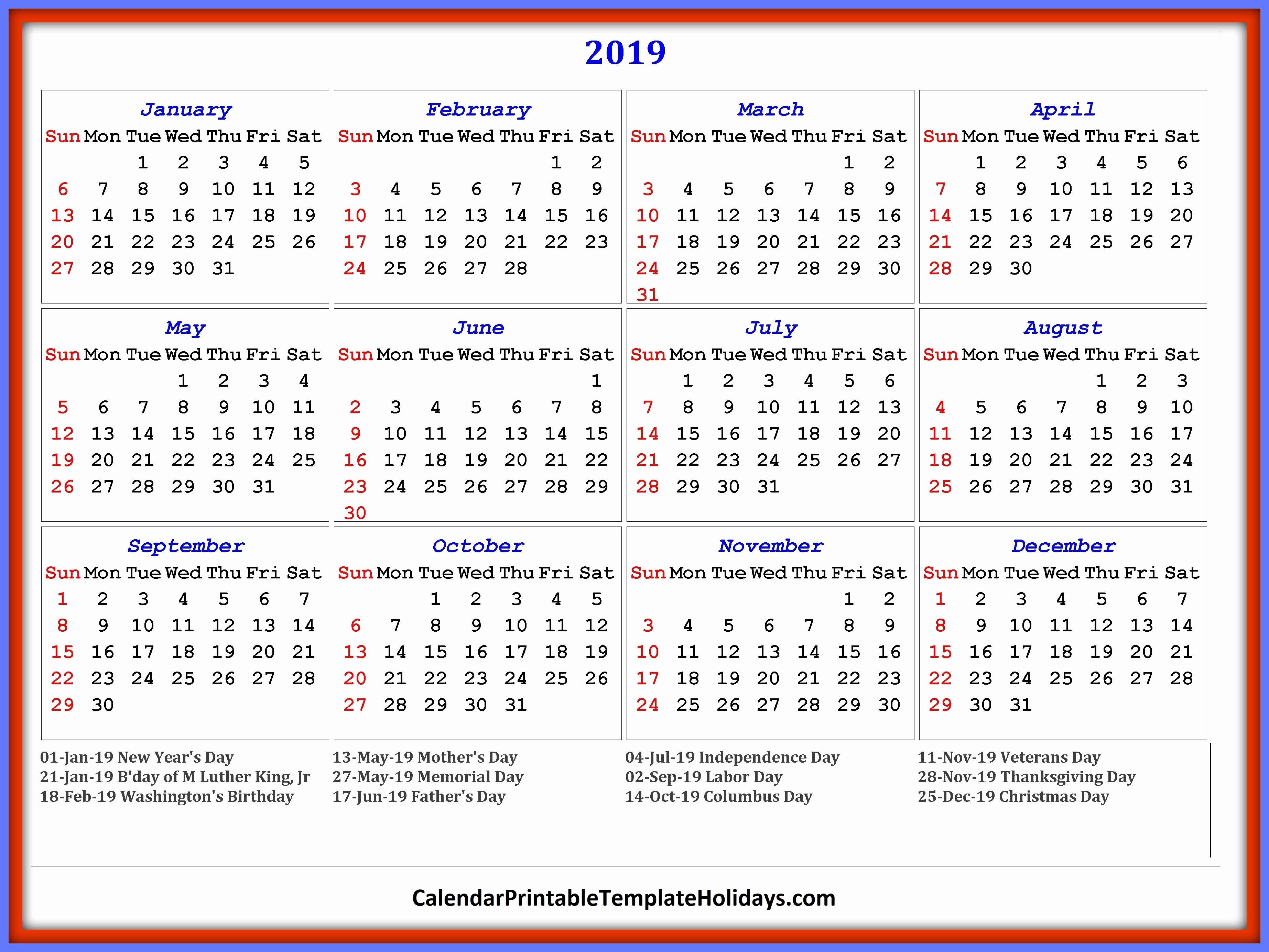 2019 Word Calendar with Holidays Luxury 2019 Calendar Printable Template Holidays Pdf Word Excel