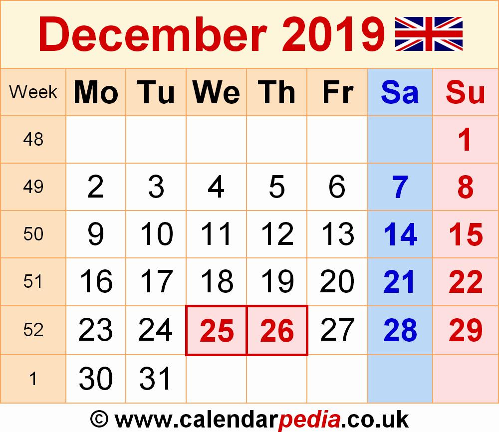 2019 Word Calendar with Holidays Luxury 2019 December Calendar Cheatervz