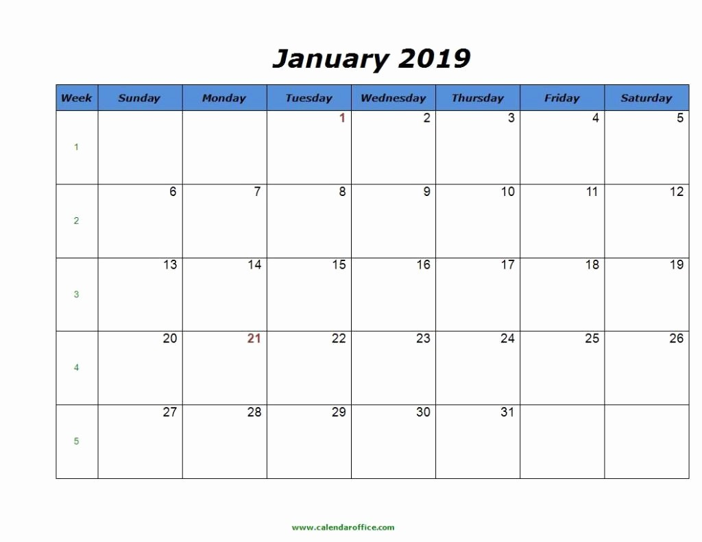 2019 Word Calendar with Holidays Luxury Free January 2019 Calendar In Printable format Templates