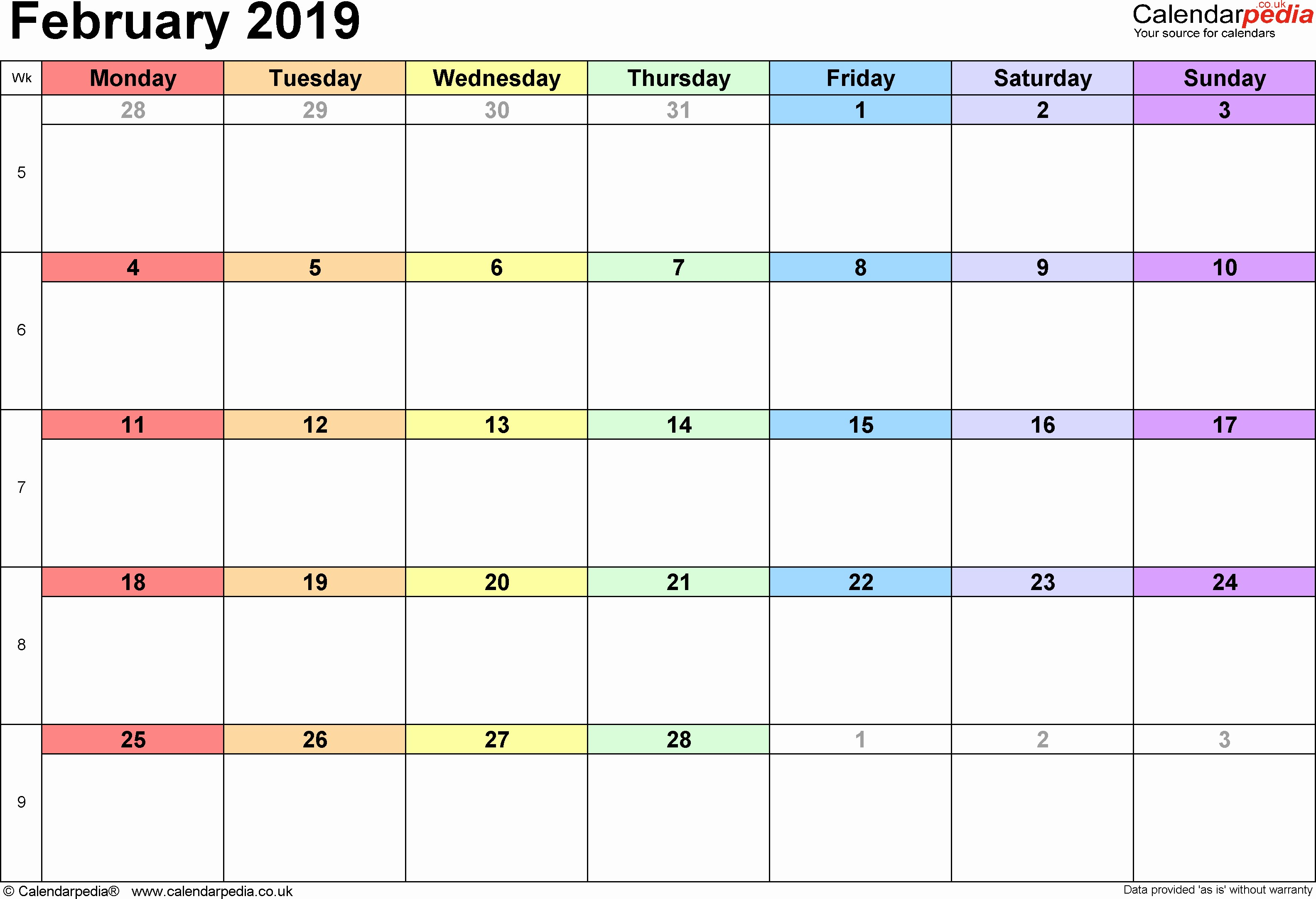 2019 Word Calendar with Holidays New 2019 Printable Calendar Pdf February 2019 Calendar Month