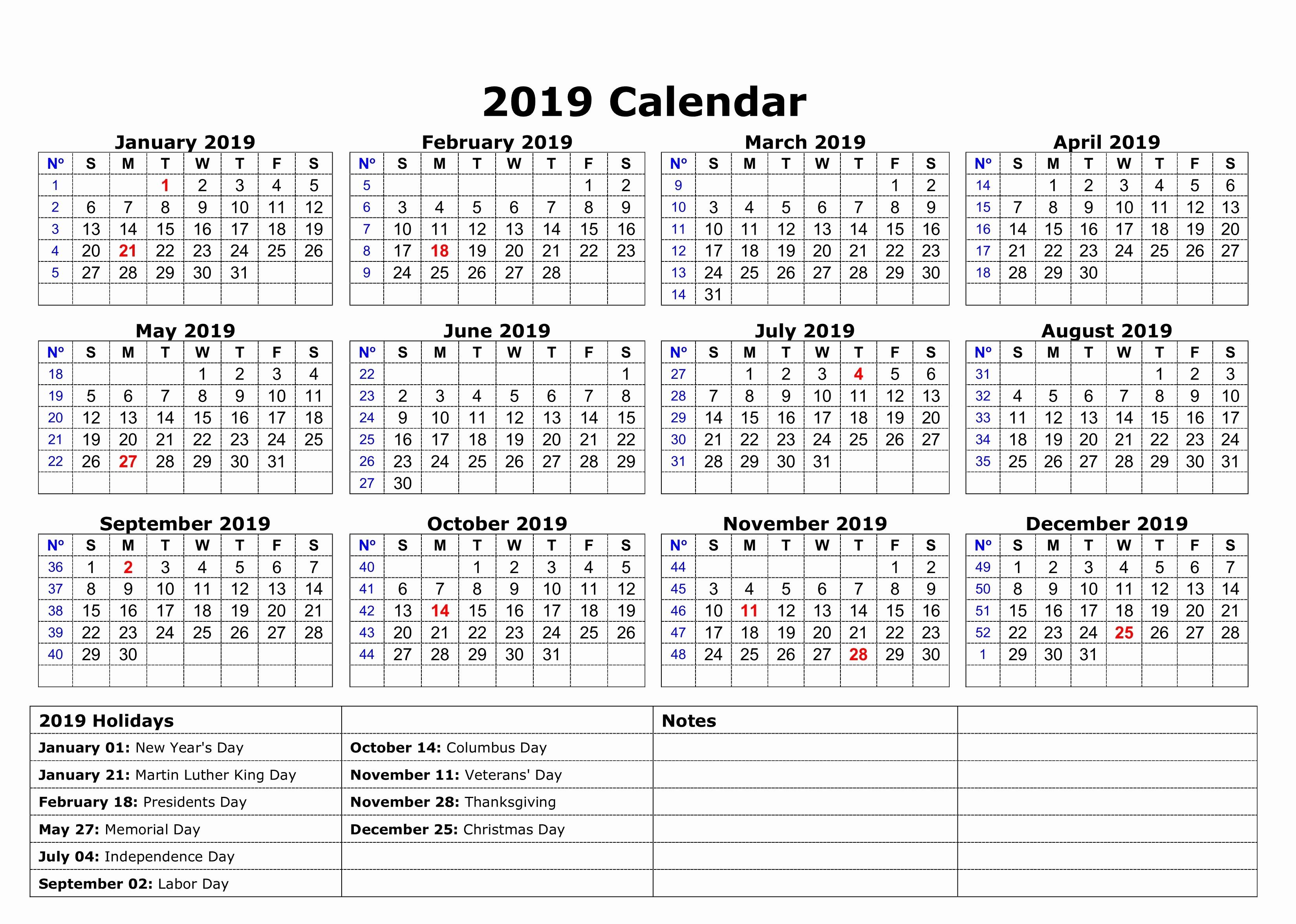 2019 Word Calendar with Holidays New Free Usa Calendar 2018 Pdf Excel Word Templates