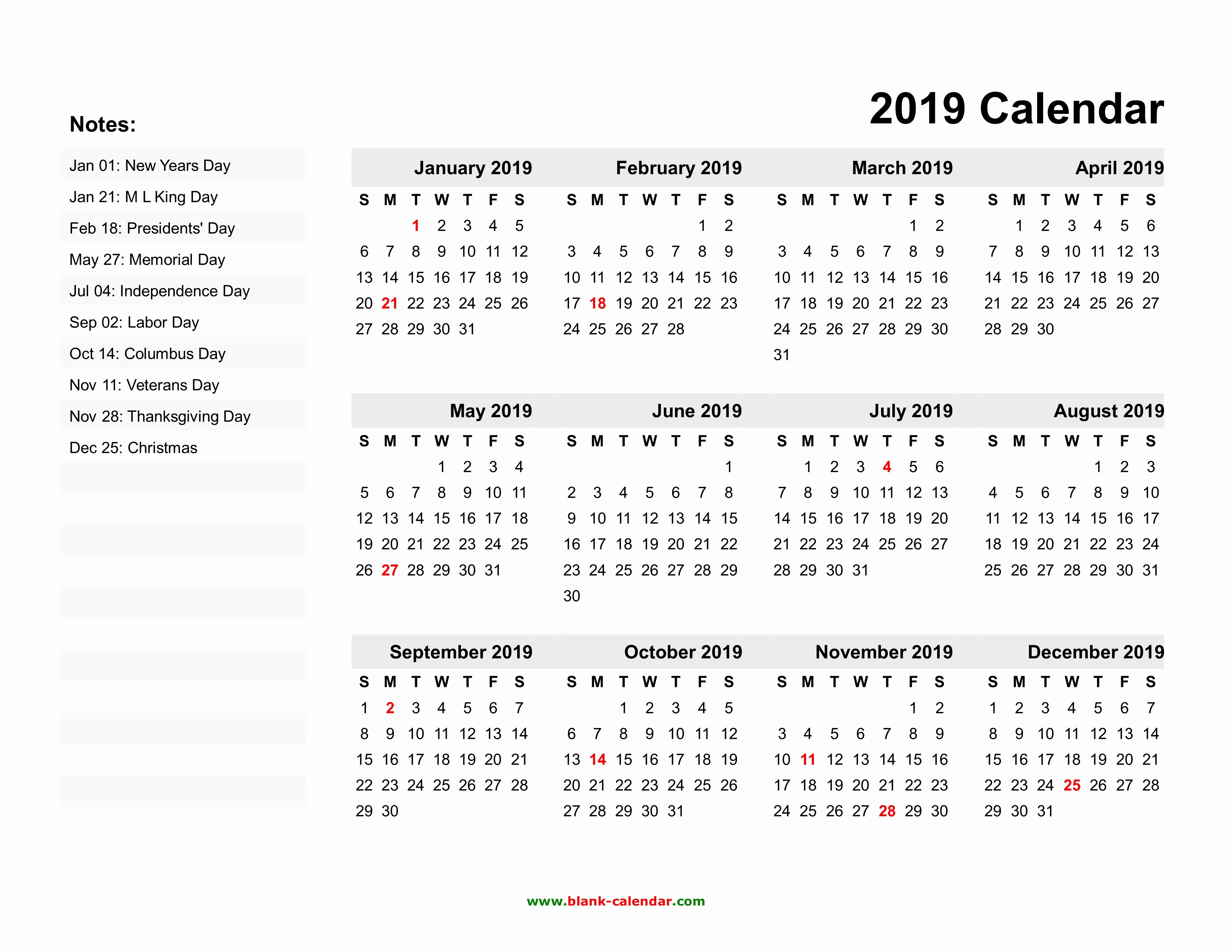 2019 Word Calendar with Holidays New Yearly Calendar 2019