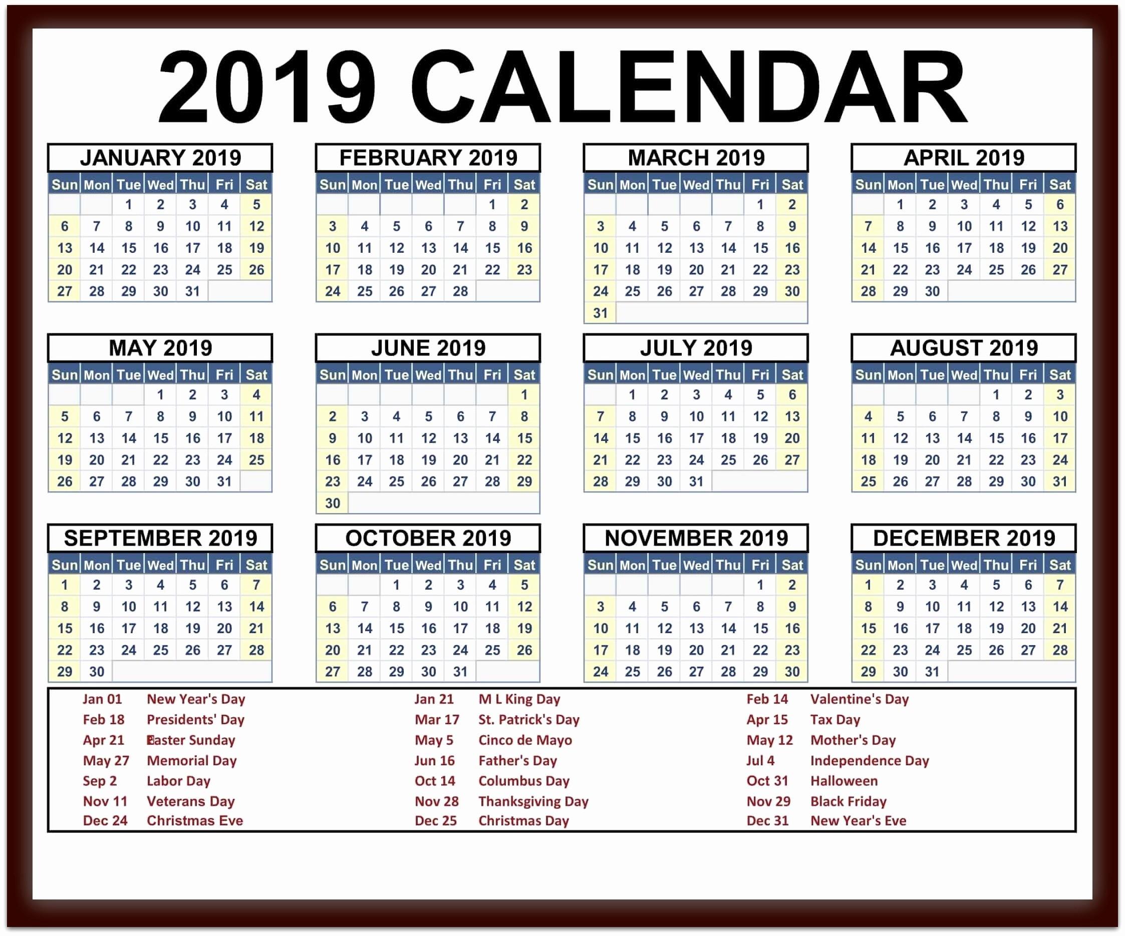 2019 Word Calendar with Holidays Unique 2019 Calendar Holidays Usa India Uk Canada Australia