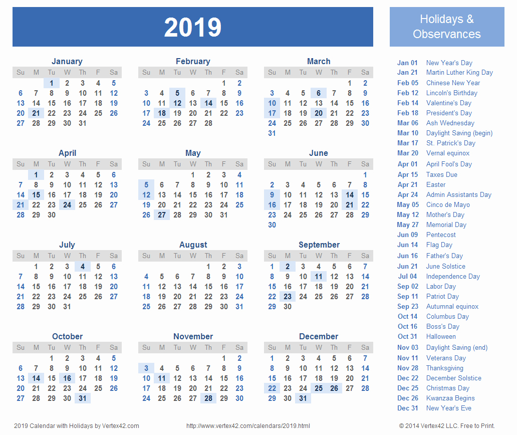 2019 Word Calendar with Holidays Unique 2019 Calendar Word