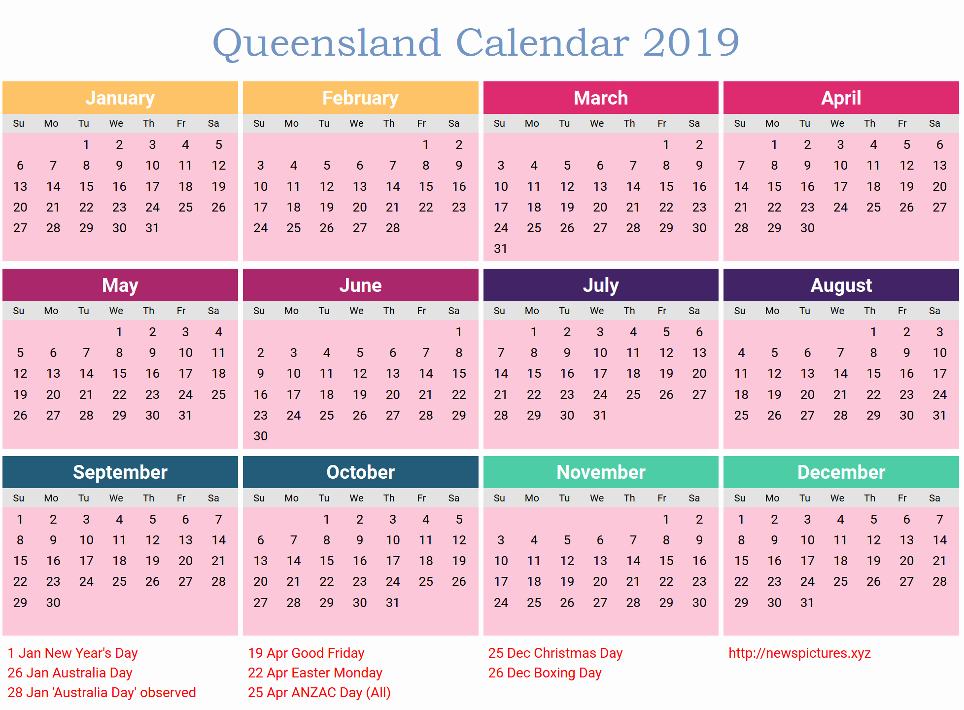 2019 Word Calendar with Holidays Unique Free Qld Calendar 2019 Template Pdf Excel Word Templates