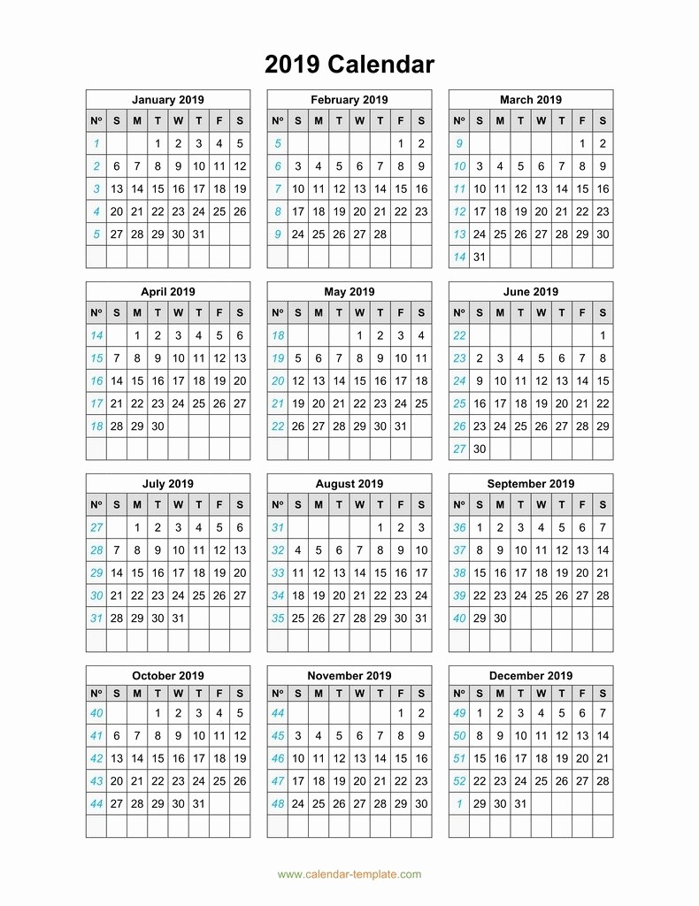 2019 Yearly Calendar One Page Awesome 2019 Calendar Template On One Page