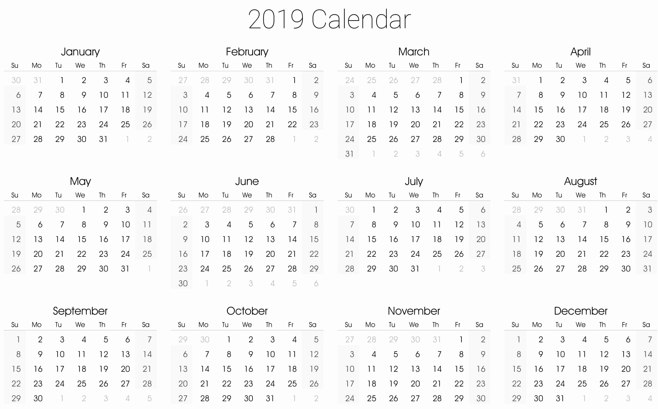 2019 Yearly Calendar One Page Awesome 2019 Yearly Calendar Template Vertical