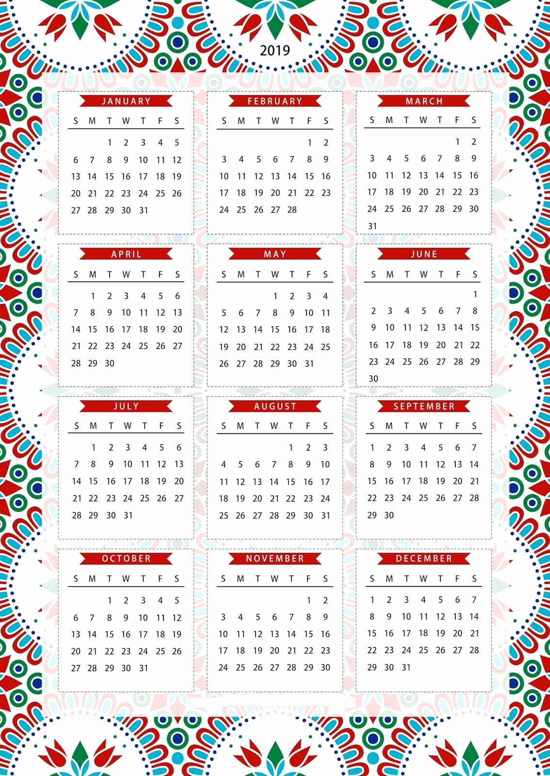 2019 Yearly Calendar One Page Awesome Free E Page Calendar Template Printable Download 2019