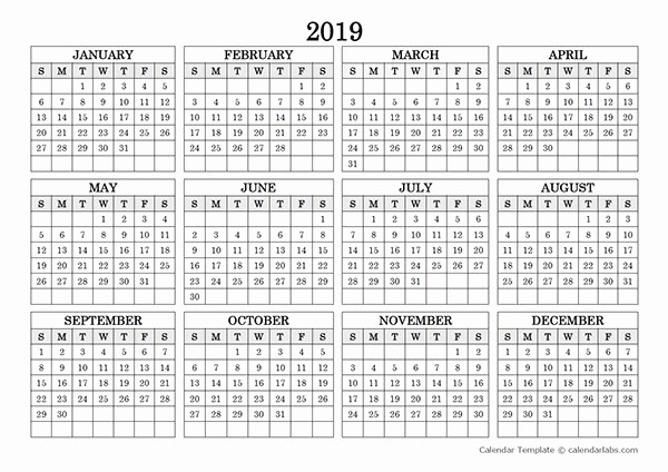 2019 Yearly Calendar One Page Awesome New 2019 Yearly Calendar Printable Landscape