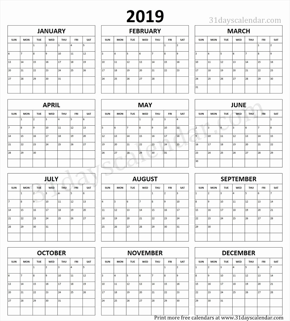 2019 Yearly Calendar One Page Awesome Year Calendar 2019 Printable E Page