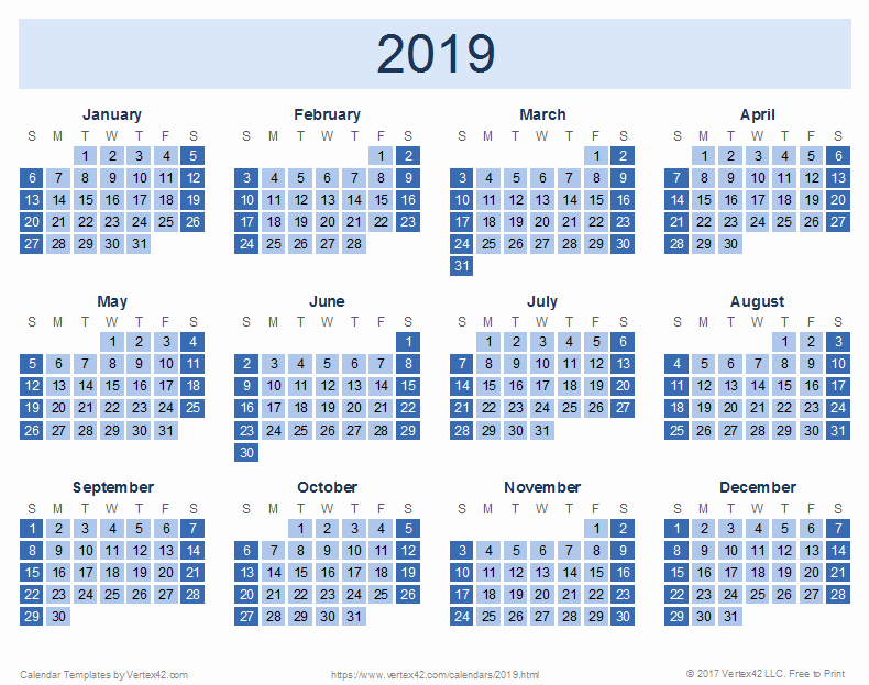 2019 Yearly Calendar One Page Beautiful 2019 Calendar Templates and