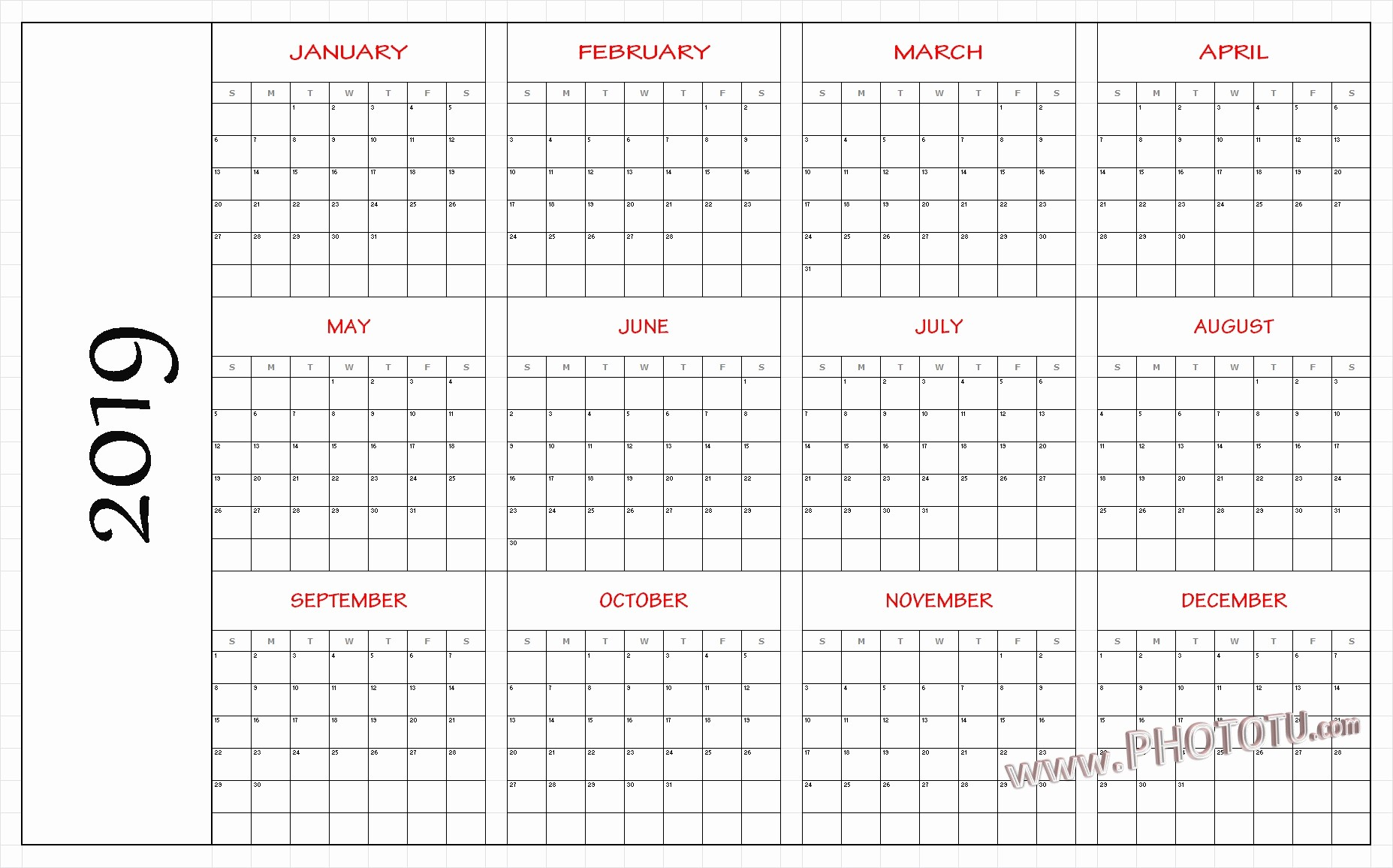 2019 Yearly Calendar One Page Beautiful 2019 Printable 12 Month E Page Calendar Template Pdf
