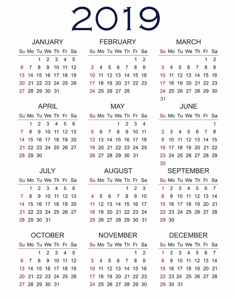 2019 Yearly Calendar One Page Beautiful 2019 Printable Calendar E Page March 2019 Calendar with