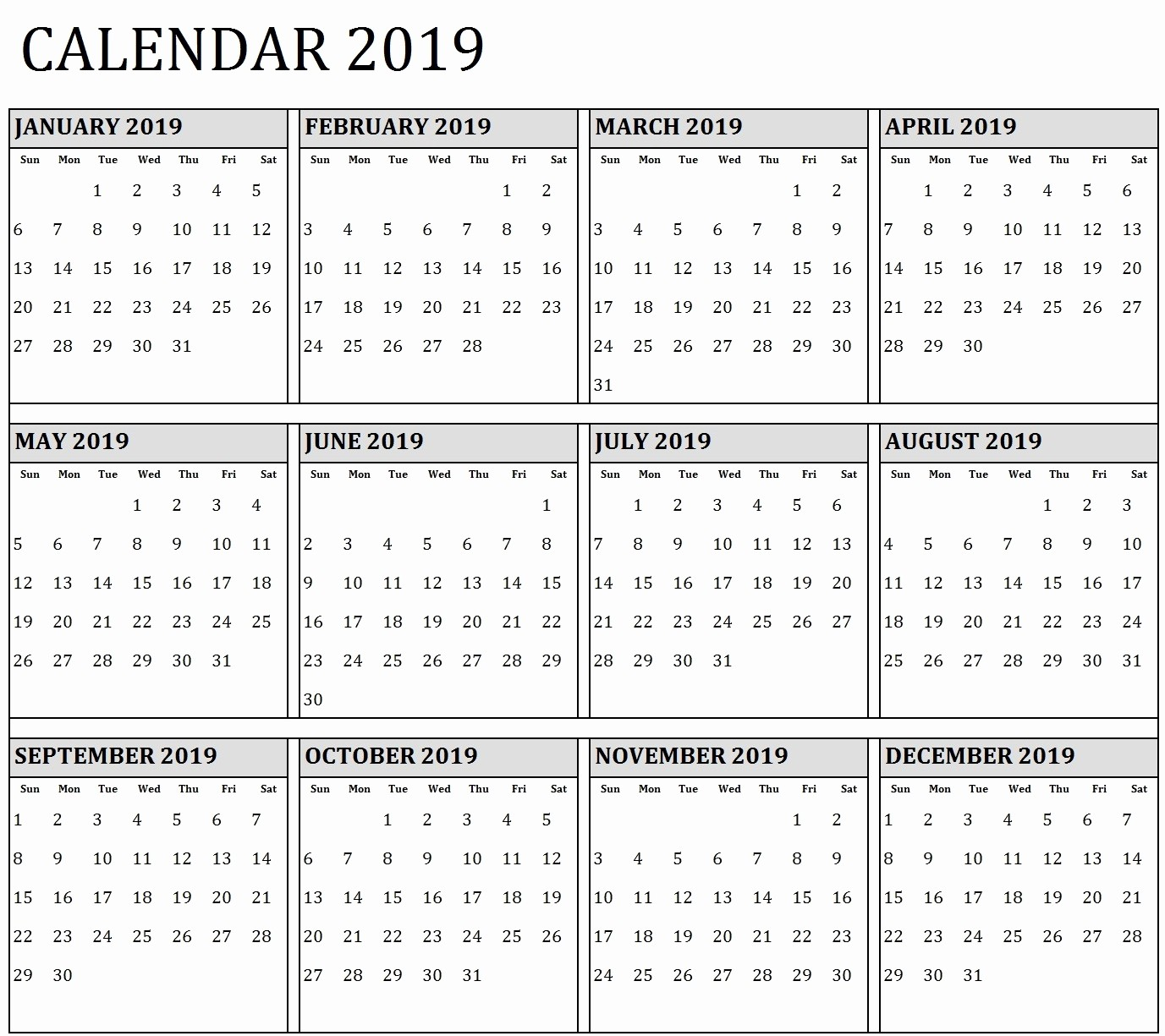 2019 Yearly Calendar One Page Beautiful E Page Yearly Calendar 2019 – Printable 2018 Calendar