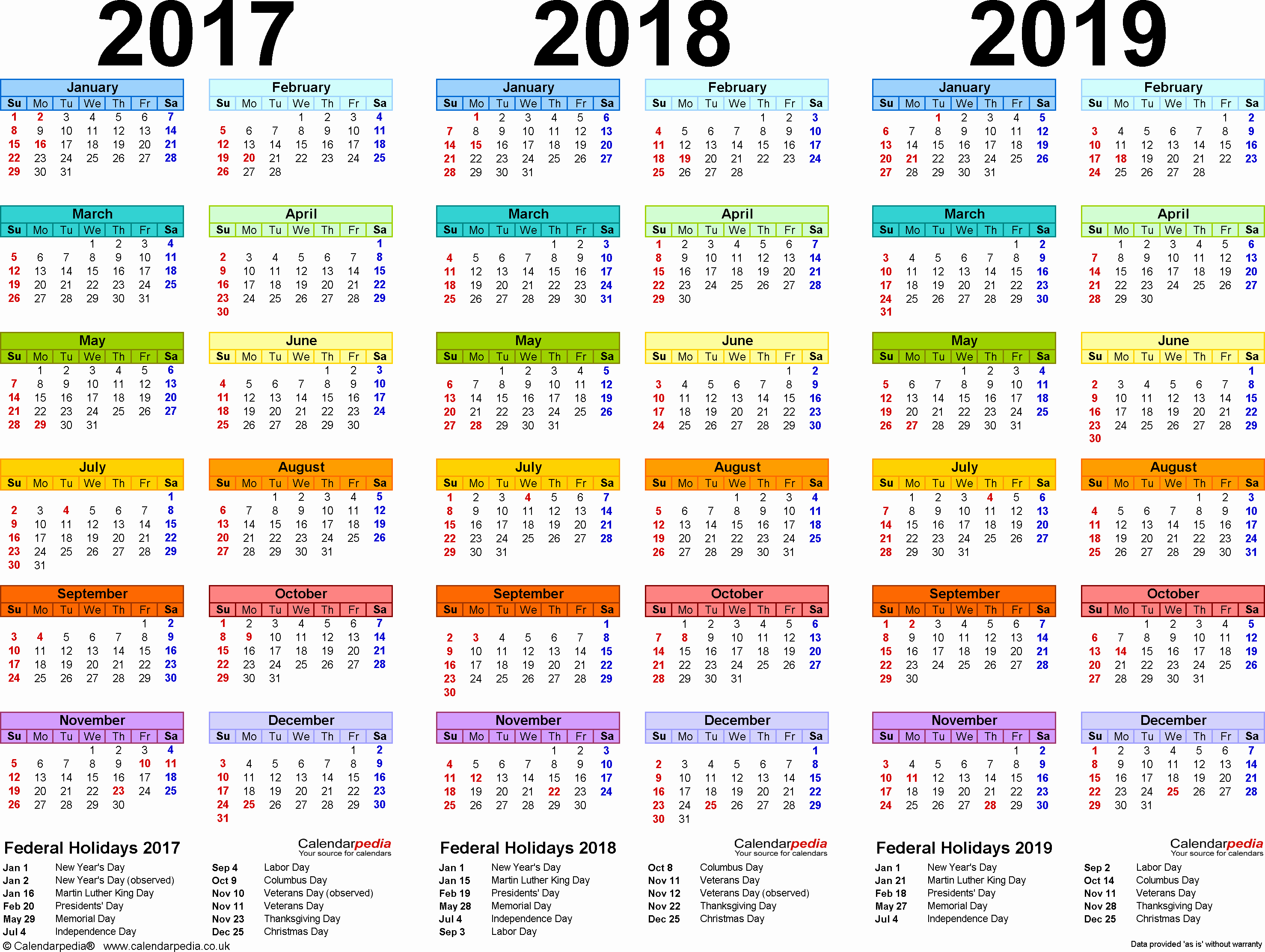 2019 Yearly Calendar One Page Best Of 2017 2018 2019 Calendar 4 Three Year Printable Excel