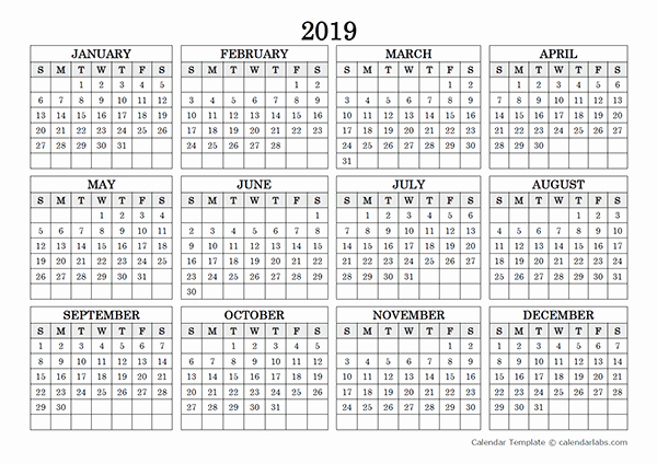 2019 Yearly Calendar One Page Best Of 2019 Blank Yearly Calendar Landscape Free Printable