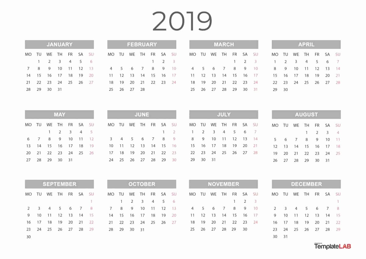 2019 Yearly Calendar One Page Best Of 2019 Printable Calendars [monthly with Holidays Yearly