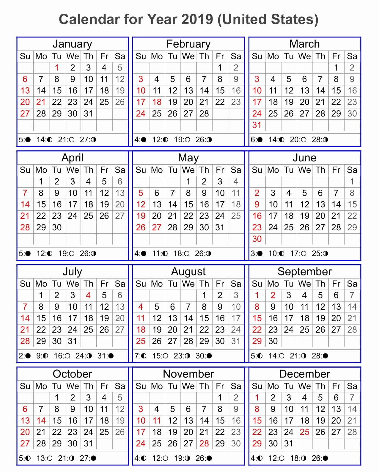 free yearly 2019 calendar one page