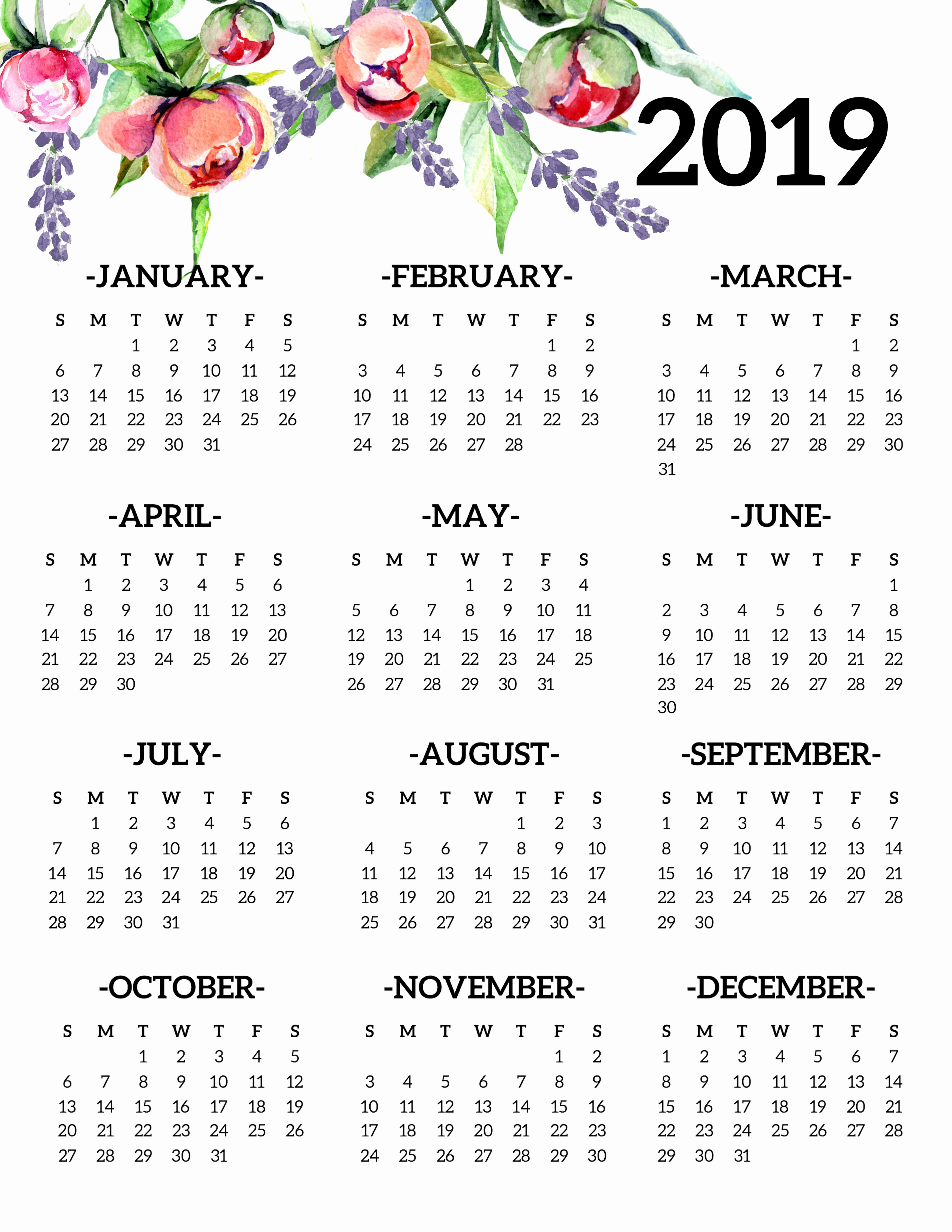 2019 Yearly Calendar One Page Elegant Free Printable 2019 Calendar Yearly E Page Floral