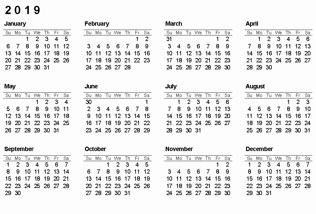 2019 Yearly Calendar One Page Elegant Printable Calendar 2019 Yearly Calendar Download