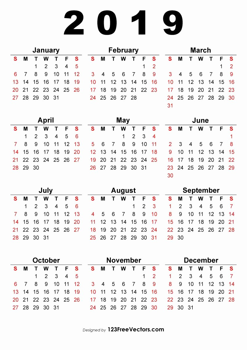2019 Yearly Calendar One Page Fresh 2019 Calendar E Page 2019 Calendar