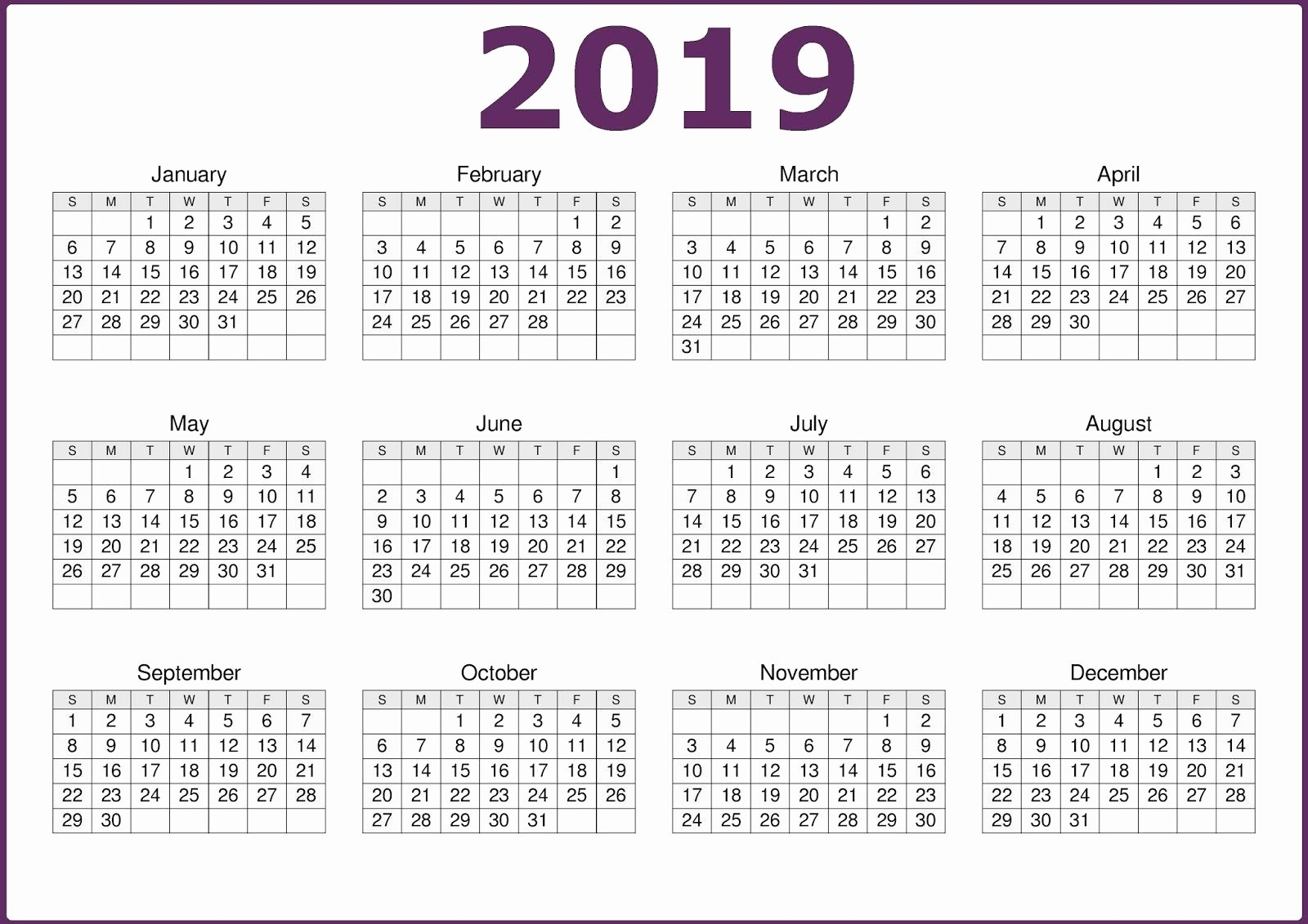 2019 Yearly Calendar One Page Fresh 2019 One Page 12 Months Calendar