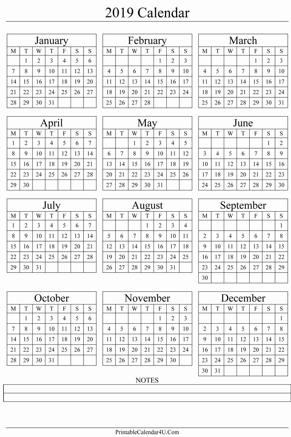 2019 Yearly Calendar One Page Fresh Annual Calendar 2019 Portrait Printable Calendar 2019 2020