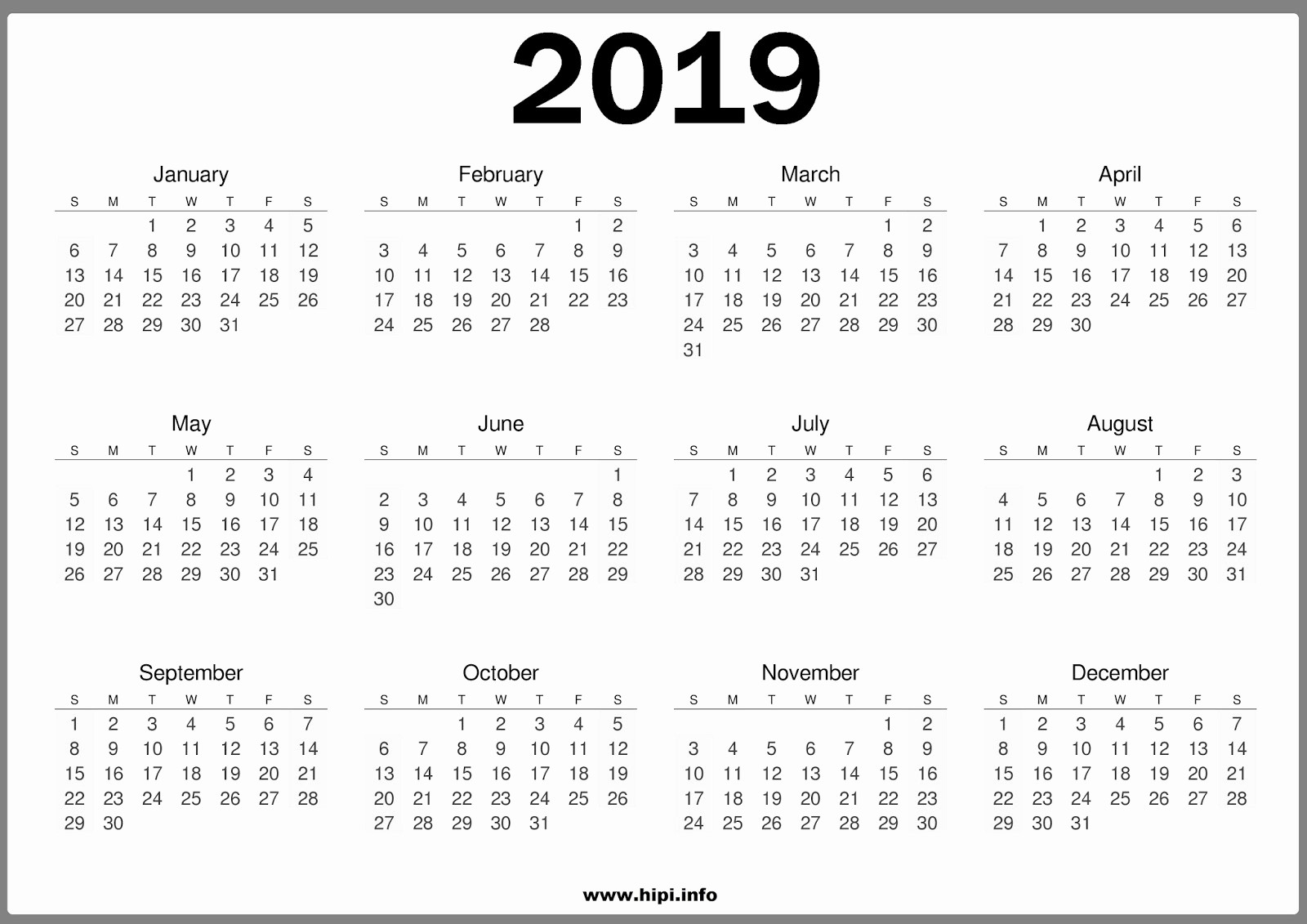 2019 Yearly Calendar One Page Fresh Free 2019 E Page Calendar Templates